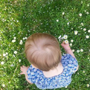 Foto von Kind das Blumen pflückt