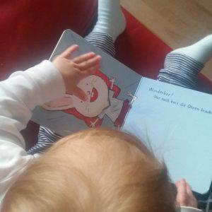 """Kind liest Buch """"Nur noch kurz die Ohren kraulen"""""""