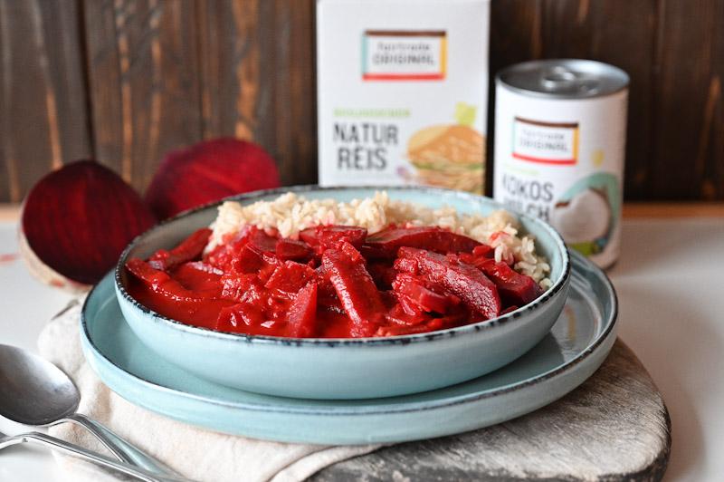Rote Rüben-Curry mit Naturreis